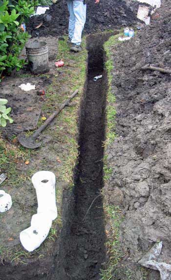 Trenching is the process of digging a linear hole in the ground for the replacement of drain lines.